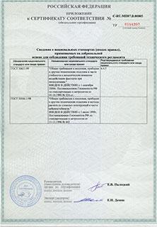 Приложение к сертификату СИТАЛ Сейсмика 2011-2016
